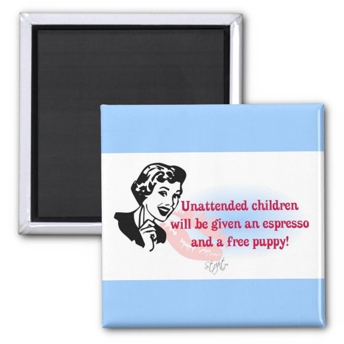 RETRO UNATTENDED CHILDREN 2 INCH SQUARE MAGNET