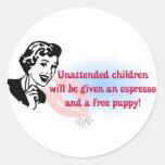 RETRO UNATTENDED CHILDREN STICKERS