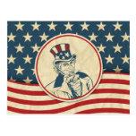 Retro Uncle Sam Stars and Stripes Postcard