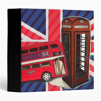 Retro Union Jack London Bus red telephone booth 3 Ring Binder