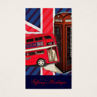 Retro Union Jack London Bus red telephone booth Business Card