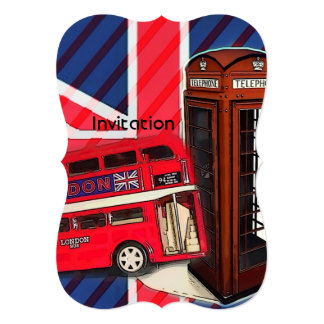 Retro Union Jack London Bus red telephone booth Card