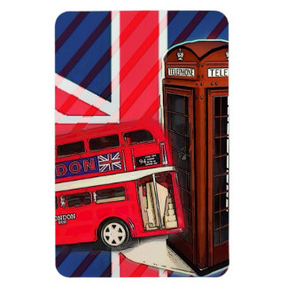 Retro Union Jack London Bus red telephone booth Magnet