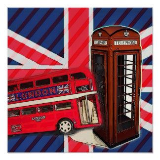 Retro Union Jack London Bus red telephone booth Poster