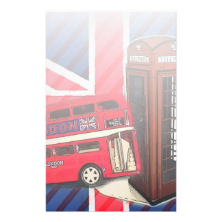 Retro Union Jack London Bus red telephone booth Stationery