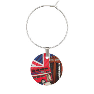 Retro Union Jack London Bus red telephone booth Wine Glass Charm