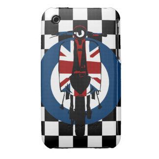 Retro Union Jack scooter on checks Case-Mate iPhone 3 Case