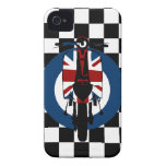 Retro Union Jack scooter on checks iPhone 4 Covers