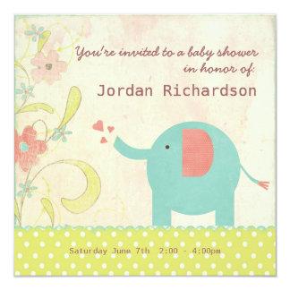 Retro Unisex Elephant Baby Shower 5.25x5.25 Square Paper Invitation Card