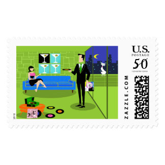 Retro Urban Cartoon Couple Postage Stamps