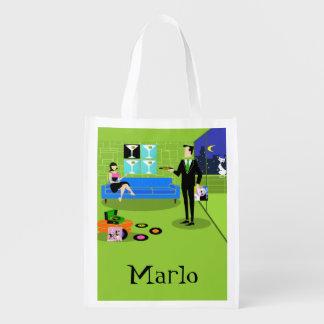 Retro Urban Cartoon Couple Reusable Grocery Bag