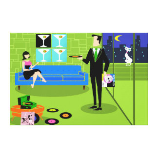 Retro Urban Cartoon Couple Stretched Canvas Print