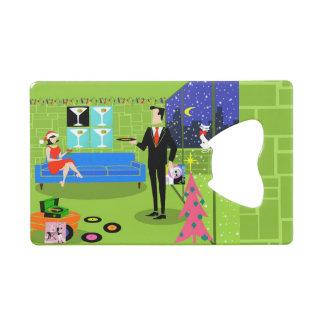 Retro Urban Christmas Couple Card Bottle Opener Wallet Bottle Opener