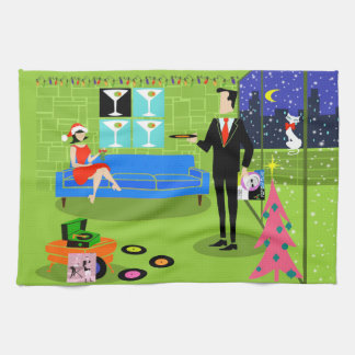 Retro Urban Christmas Couple Kitchen Towel