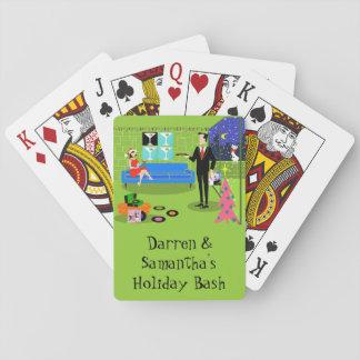 Retro Urban Christmas Couple Playing Cards