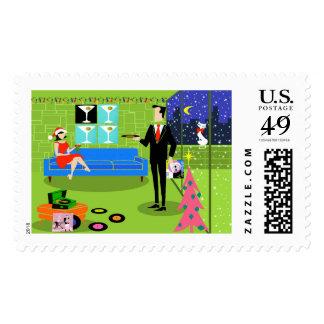 Retro Urban Christmas Couple Postage Stamps