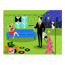 Retro Urban Christmas Couple Postcard