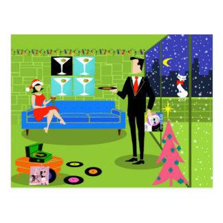 Retro Urban Christmas Couple Postcard