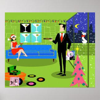 Retro Urban Christmas Couple Poster