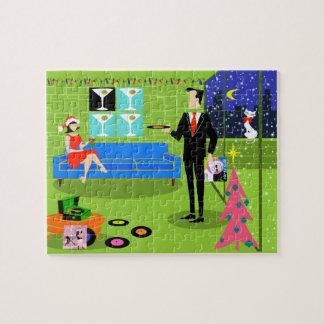 Retro Urban Christmas Couple Puzzle