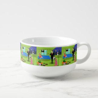 Retro Urban Christmas Couple Soup Mug