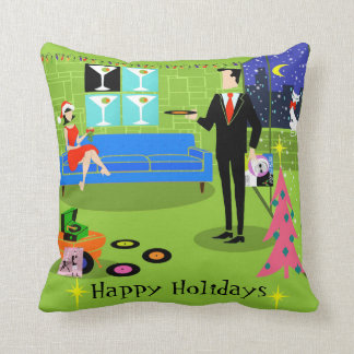 Retro Urban Christmas Couple Throw Pillow