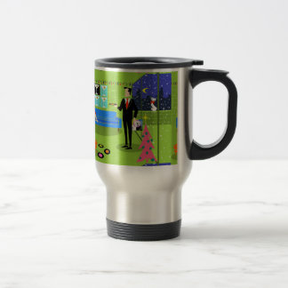 Retro Urban Christmas Couple Travel Mug