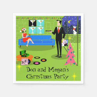 Retro Urban Christmas Party Disposable Napkins