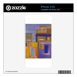 retro urban purple yellow abstract cityscape decal for iPhone 4