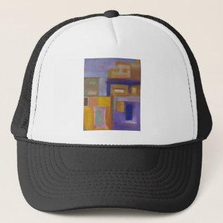 retro urban purple yellow abstract cityscape trucker hat