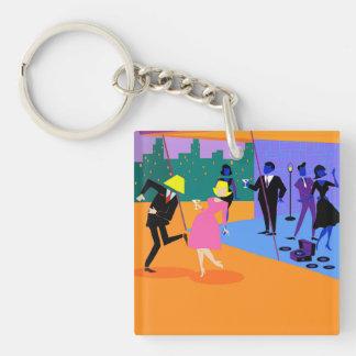 Retro Urban Rooftop Party Acrylic Keychain