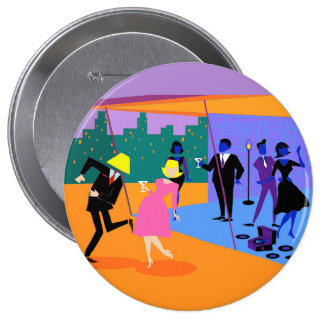 Retro Urban Rooftop Party Button 4 Inch Round Button