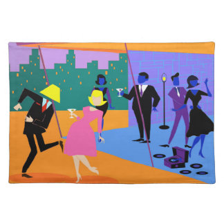 Retro Urban Rooftop Party Cloth Placemat