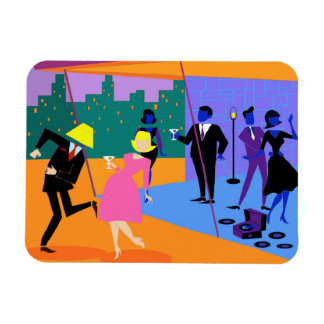 Retro Urban Rooftop Party Flexible Magnet