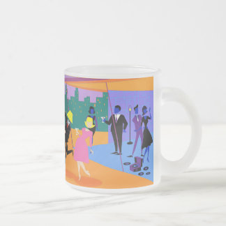 Retro Urban Rooftop Party Frosted Glass Mug