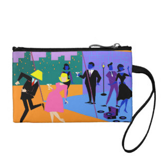 Retro Urban Rooftop Party Key Coin Clutch Change Purses