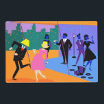 """Retro Urban Rooftop Party Laminated Placemat<br><div class=""""desc"""">This Customizable Retro Urban Rooftop Party Laminated Placemat is intoxicating in its detail. The cartoon design features the type of wildly sophisticated cocktail party that is normally only seen in movies from the 1960s. There is a lot for the partygoers to take in. From the comfort of a penthouse apartment,...</div>"""
