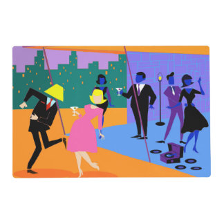 Retro Urban Rooftop Party Laminated Placemat