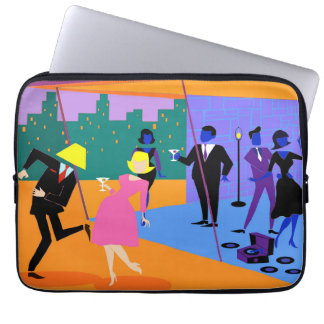 Retro Urban Rooftop Party Laptop Sleeve