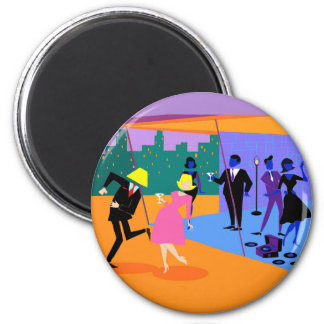 Retro Urban Rooftop Party Magnet 2 Inch Round Magnet