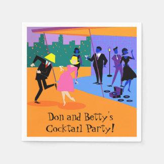 Retro Urban Rooftop Party Paper Napkins