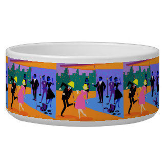 Retro Urban Rooftop Party Pet Bowl