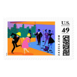Retro Urban Rooftop Party Postage Stamps