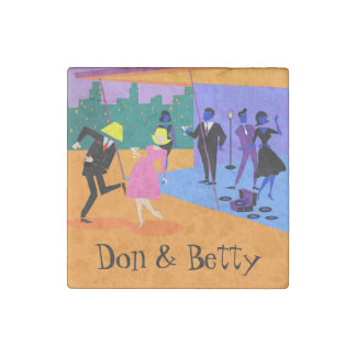 Retro Urban Rooftop Party Stone Magnet