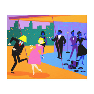 Retro Urban Rooftop Party Stretched Canvas Print