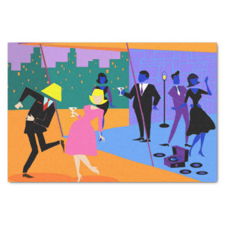 Retro Urban Rooftop Party Tissue Paper