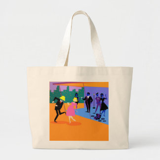 Retro Urban Rooftop Party Tote Bag Jumbo Tote Bag