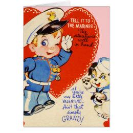 Retro US Military Valentine's Day Kids Card