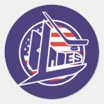 Retro USA Blades Hockey Classic Round Sticker