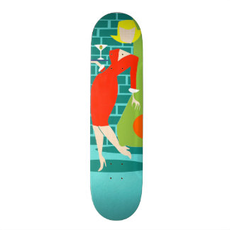 Retro Va-Va-Va-Voom Cartoon Woman Skateboard